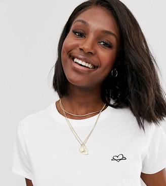 Asos DESIGN Maternity t-shirt with planet love motif in organic cotton