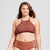 Ava & Viv Women's Plus Size Crochet High Neck Bikini Top