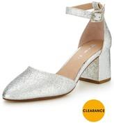 Very Sparkle Metallic Block Heel Shoe - Silver
