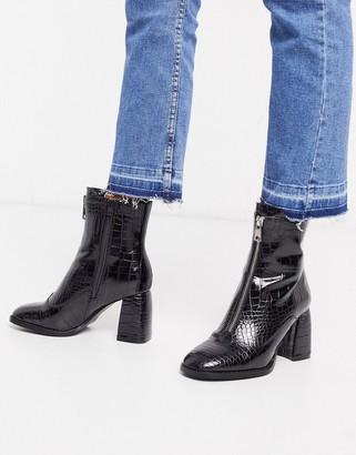 Miss Selfridge croc boots with flared heel in black