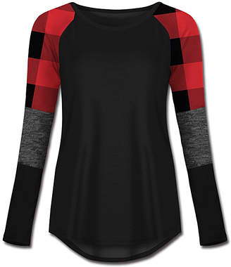 Buffalo David Bitton Udear UDEAR Women's Tee Shirts Print - Black & Gray Check Block-Sleeve Raglan Tee - Women & Plus