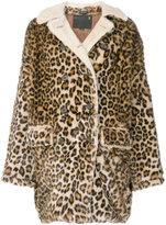 R 13 leopard print oversized coat