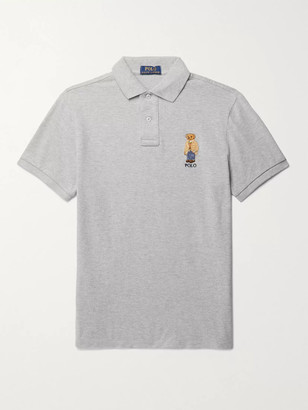 Polo Ralph Lauren Slim-Fit Logo-Embroidered Melange Cotton Polo Shirt - Men - Gray