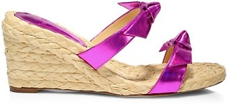 Alexandre Birman Clarita Iridescent Leather Espadrille Wedge Mules