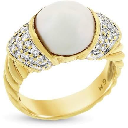 David Yurman 18k Yellow Gold 0.45 Ct. Diamond & Mabe Pearl Textured Ring Size 6.25