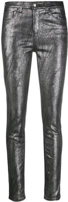 Emporio Armani Metallic Mid-Rise Skinny Jeans