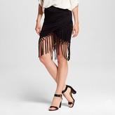 3Hearts Women's Fringe Wrap Around Skirt Black - 3Hearts (Juniors')