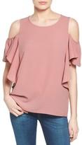 Bobeau Women's Cold Shoulder Ruffle Sleeve Top