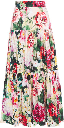 Dolce & Gabbana Gathered Floral-print Cotton-poplin Maxi Skirt