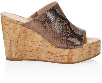 Stuart Weitzman Margarite Python-Embossed Leather Cork Wedge Mules