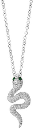 Effy 14K White Gold, Emerald & Diamond Snake Pendant Necklace