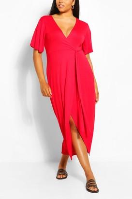 boohoo Plus Wrap Bodice Maxi Dress