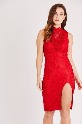 Skirt & Stiletto Sleeveless Red Lace Dress with Front Slit