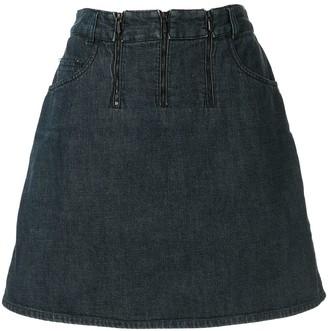 Chanel Pre Owned Triple Zip Denim Skirt
