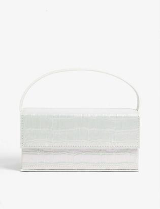 L'Afshar Ida medium croc-embossed acrylic clutch bag