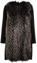 Fendi fox fur appliqué coat - women - Fox Fur/Cashmere - 38