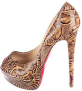 Christian Louboutin Etched Leather Lady Peep Pumps