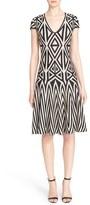 St. John Women's Geometric Knit Fit & Flare Dress