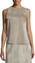 Derek Lam Sleeveless Fringed Suede Shell, Fawn