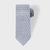 Paul Smith Men's Sky Blue Rabbit Pattern Narrow Silk Tie