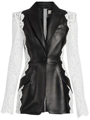 Alexander McQueen Leather & Lace Blazer Jacket