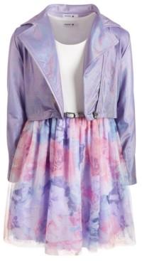 Beautees Big Girls 2-Pc. Moto Jacket & Belted Mesh Dress Set