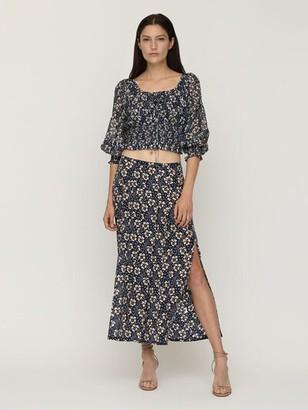 Rixo Georgia Printed Silk Midi Skirt