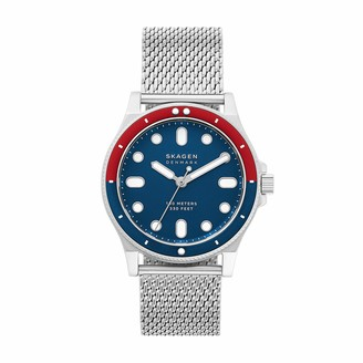 Skagen Men's Fisk Quartz Analog Stainless Steel and Stainless Steel Mesh Watch Color: Silver Blue (Model: SKW6668)