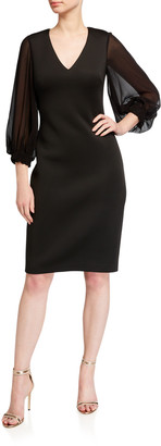 Badgley Mischka V-Neck Puff-Sleeve Scuba Dress
