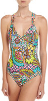 Trina Turk Madagascar One-Piece T-Back Swimsuit, Multi Pattern