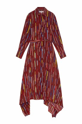 Parker Chinti & Berry Verticals Silk Crepe De Chine Dress