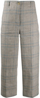 Semi-Couture Cropped Plaid Trousers