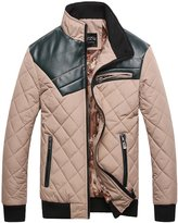 TLZC Men's Winter Fashion Stand Collar PU Leather Patchwork Long Sleeve Jackets US Size M