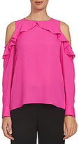 CeCe Long Sleeve Ruffled Cold Shoulder Top