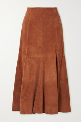 Gabriela Hearst Amy Suede Midi Skirt - Brick