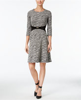 Calvin Klein Petite Belted Fit & Flare Sweater Dress