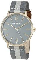 Ben Sherman Men's 'Portobello Stripe' Quartz Stainless Steel and Leather Watch, Multi Color (Model: WB044EGA)