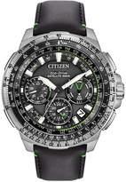 Citizen Men's Chronograph Eco-Drive Black Leather Strap Watch 47mm CC9030-00E