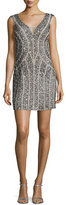 Aidan Mattox Sleeveless Embellished Mini Cocktail Dress, Silver