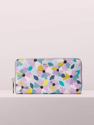 Kate Spade spencer glitter floral zip-around continental wallet