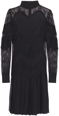 Valentino Pleated Paneled Lace And Silk-cady Dress