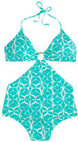 J.Crew Halter cutout one-piece swimsuit in mosaic floral