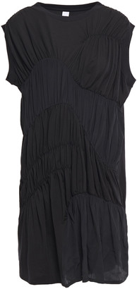 Carven Gathered Jersey-paneled Tencel-blend Crepe De Chine Mini Dress