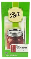 Ball Set of 12 Regular Mouth Lids with Bands for Jars