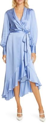 Zimmermann Super Eight Long Sleeve Silk Midi Wrap Dress