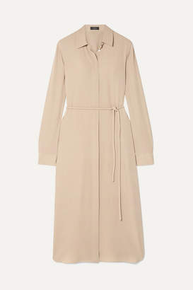 Theory Belted Silk Crepe De Chine Dress - Beige