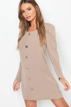 boohoo Square Neck Volume Sleeve Button Front Shift Dress