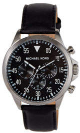 MICHAEL Michael Kors 45mm Gage Leather Strap Watch, Black