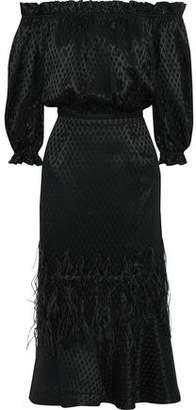 Saloni Grace Off-the-shoulder Floral-print Silk Crepe De Chine Midi Dress