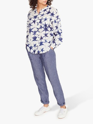 White Stuff Basil Abstract Print Collarless Shirt, White/Blue